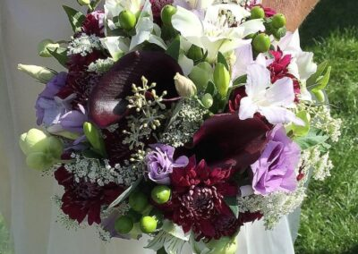 wedding flowers Purple calla and lisianthus bouquet 772