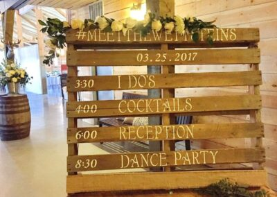 decor calgary wedding western whimsical Signage