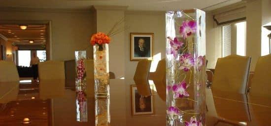 office flowers in the boardroom