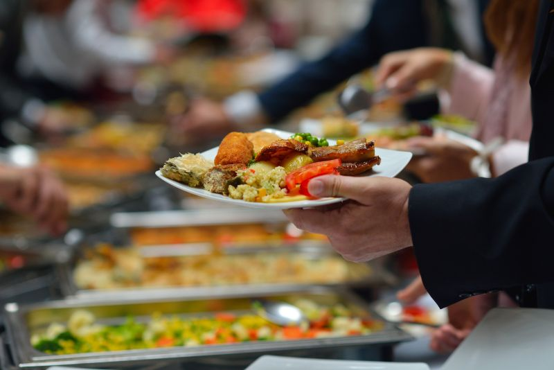 Party catering in Calgary - buffet table line up