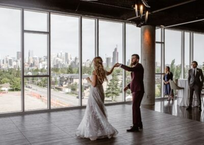 Wedding planner at Skyline Room Calgary - bride and groom dancing