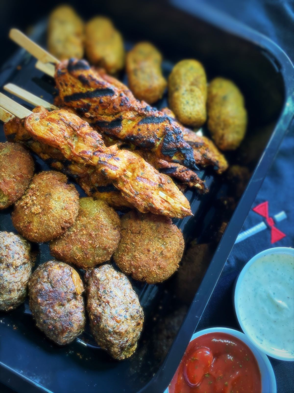 Tandoori Chicken Kebabs, Cheesy Italian sausage Falafels